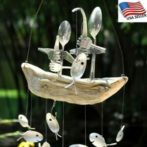 Wind Chime Fishing Man Spoon Fish Sculptures Hanging Ornament Home Garden Decor