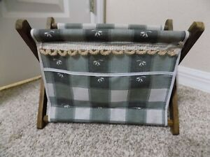 Vintage Small Fabric Wooden Knitting Sewing Folding Basket $10.00