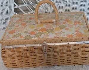 Vintage Dritz Sewing Basket Box 1950s 1960s Wicker Japan RARE Yellow Floral $34.95