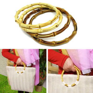 1Pair Retro Round Bamboo Bag Handle for Handcrafted Handbag DIY Bags Accessories