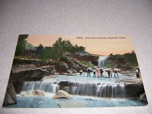 1910s WATERFALLS amp; PEOPLE in PALO DURO CANYON AMARILLO TEXAS ANTIQUE POSTCARD