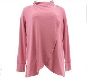 Cuddl Duds Brushed Knit Cascade Wrap MauvePinkHeathr S NEW A381700 $24.98
