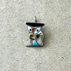 Vintage Native American Sterling with Inlaid Stones Zuni Owl Design Pendant $32.95