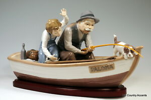 LLADRO quot;FISHING WITH GRAMPSquot; w BASE #5215 GRANDPA BOY DOG IN A BOAT $1250