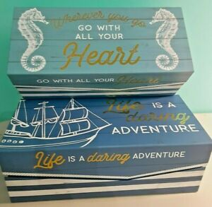 Nautical themed storage boxes Lot of 2 Life is adventure seahorse saying box $24.99