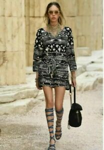 SALE AUTH CHANEL 2017 RUNWAY SMALL CC LOGO BELTED DRESS SIZE36 US2 US4 $599.00