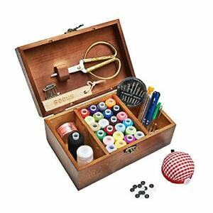 Sewing Kit Wooden Sewing Basket with Accessories Sewing Box with Retro Box $29.42