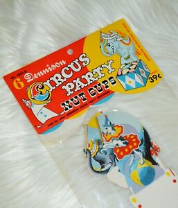 NOS Dennison party nut cups new old stock vintage mint Birthday Circus $24.00