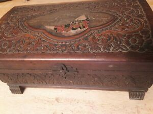 Vintage Hand made Wooden Box With Hinged Lid amp; mirror and claw feet BEAUTIFUL $26.00