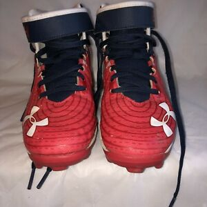 Under Armor Shoes Youth 4 Football Red White Blue $22.95
