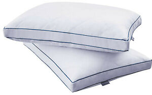 PEACE NEST White Goose Feather Pillows Double Thick Cotton Cover 2 Pack