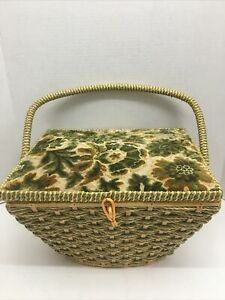 Vintage Sewing Basket Box Green Yellow Wicker Needlepoint Top Satin Lined Pennys $28.99