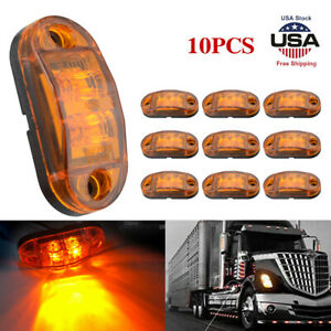 10Pcs Amber LED Car Truck Trailer RV Oval 2.5quot; Side Clearance Marker Tail Lights