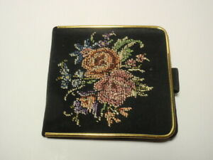 Vintage West Germany Floral Petit Point Embroidered Sewing Kit Case $18.00