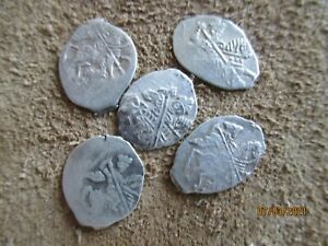 Russia Mikhail Fedorovich 1613 1645 LOT 5 COINS Silver Kopek SCALES $17.00
