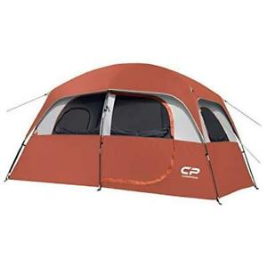 CAMPROS Tent 6 Person Camping Tents Waterproof Windproof Family Tent with Red