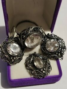 Rare antique kit Ring earrings and pendant with rock crystal silver. $650.00