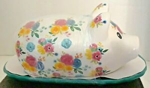 New 8 Pig Butter Dish with Floral Design