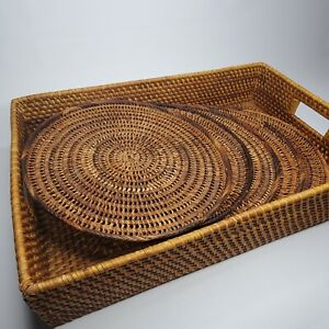 Rattan Wicker Tray and Set of 5 Round Boho Wicker Charger Placemats