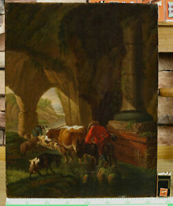 Oil Painting Antique On Wood Panel Painted Animals Shepherds Grotto Donkey Sheep $860.11