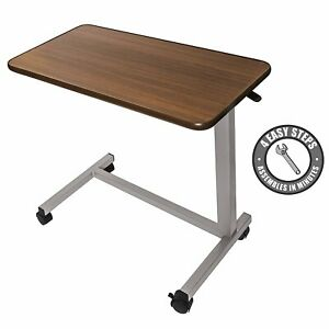 Over the Bed Side Table Wheels Hospital Overbed Rolling Tray Adjustable Bedside
