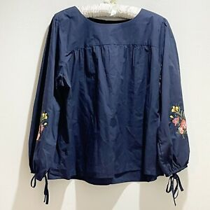 LOFT Womens Navy Blue Embroidered Sleeve Peasant Blouse Top Tunic Tie Sleeve XXL $24.00
