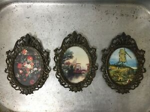 """Vintage Lot of 3 Brass Oval Ornate Frames with Scenic photos 5 1 2"""" x 4"""" $40.00"""