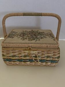 VIntage Sewing Basket Woven Wicker Tapestry Top Contents $15.00