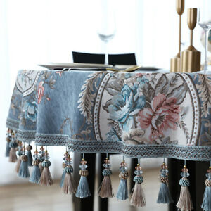 European Vintage Floral Tassel Tablecloth 60 Round Kitchen Dining Table Cover $41.61