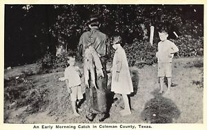TX 1920's TEXAS Fishing An Early Morning Catch in Coleman County