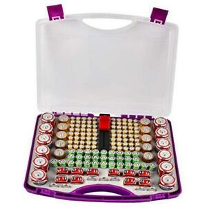 Battery Storage Organizer Case Holder with Battery Tester Battery Purple $31.88