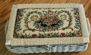 AZAR Woven Wicker Sewing Basket Box w Floral Tapestry Padded Fabric Top VTG $15.50