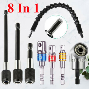 8PC 105° Right Angle Drill Bit 1 4 3 8 1 2quot; Hex Shank SocketFlexible Extension $15.89
