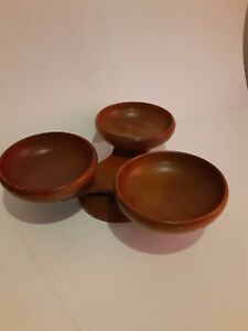Vintage Wooden Lazy Susan Butterfly Condiment Server Serving Bowls Spinning ... $32.99