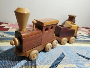 Vintage Wooden Handmade Toy Train Set Antique Made in USA 4 Pieces $50.00