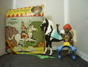 VINTAGE LIDO INDIAN CHIEF RED CLOUD AND BLACK PINTO HORSE IN 1960S PICTURE BOX $65.00