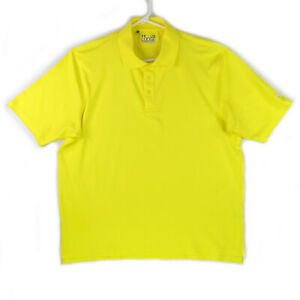 Under Armour Golf Polo Shirt Mens Size L Large Yellow Loose Performance HeatGear $11.95