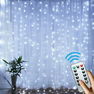 300LED Curtain Fairy Hanging String Lights Wedding Bedroom Home Decor Remote $10.99
