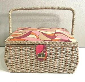 Vintage Large Sewing Basket Woven Wicker Fabric Lining Hinged Retro 70s 80s $35.00