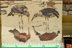Rudolf Heene Oil Painting Antique From 1932 Birds An Body of Water Expressive 3 $223.13