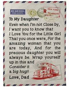 Gifts For Daughter Love Letter To Daughter From Dad Truck Driver Blankets $49.99