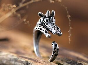 Silver Giraffe Round Knuckle Ring Women Men Retro Jewelry Party Gift Adjustable C $0.99
