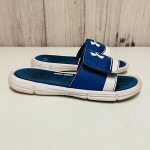 Under Armour Sandals Boys Youth Size 4 Y Slides Blue White $9.95