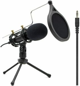 Condenser Recording Microphone 3.5mm Plug and Play PC Microphone Broadcast NEW $28.59