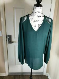 NWT Lily White Semi Sheer Long Sleeve Blouse Green Size L $12.99
