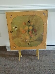 Vintage Antique Folding Wood Card Game Table Flower Floral Art Print Shabby Chic $120.00