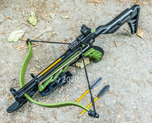 80lbs Hunting Self Cocking Pistol Crossbow 225 FPS Grip bow Military Green New