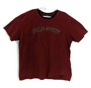 Vintage Polo Sport T Shirt Full Spell Out 90s Ralph Lauren Red 2XL $14.99