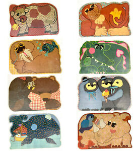 Vintage Quilted Sewing Felt animals Reversible Plastic Placemats RARE Set of 4 $29.99