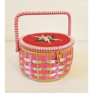 VINTAGE PINK WOVEN WICKER SEWING BASKET WITH CONTENTS $26.00